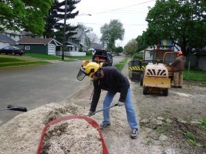 Jay Shoveling Sawdust