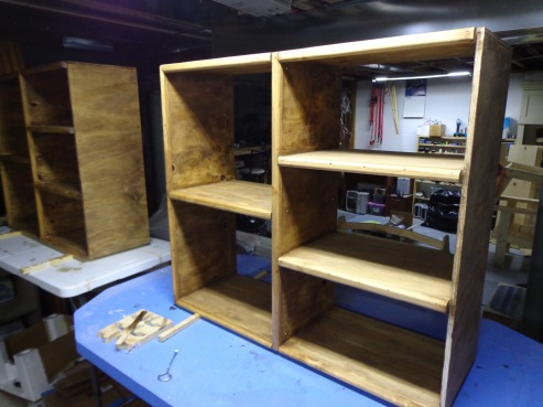 Sewing Room Cubbies Stained 6-17-17