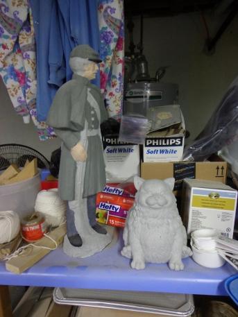Civil War Soldier and Fat Cat Statues