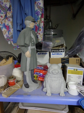Civil War Soldier and Fat Cat Statues