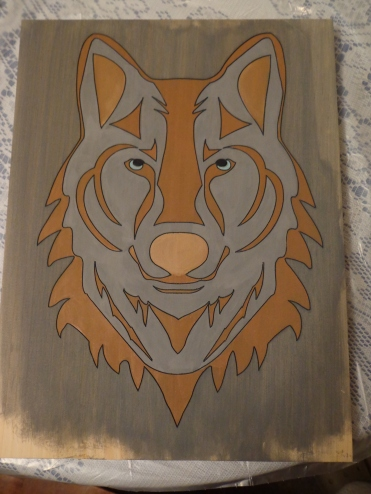 Repainted Wolf Carving 1