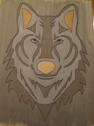 Repainted Wolf Carving 2