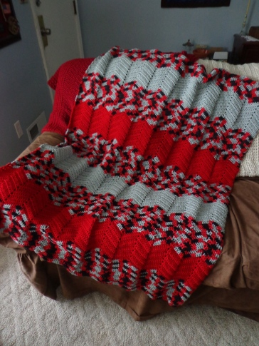 Project Linus Blanket #28 1-19-20 Another Red-Gray One