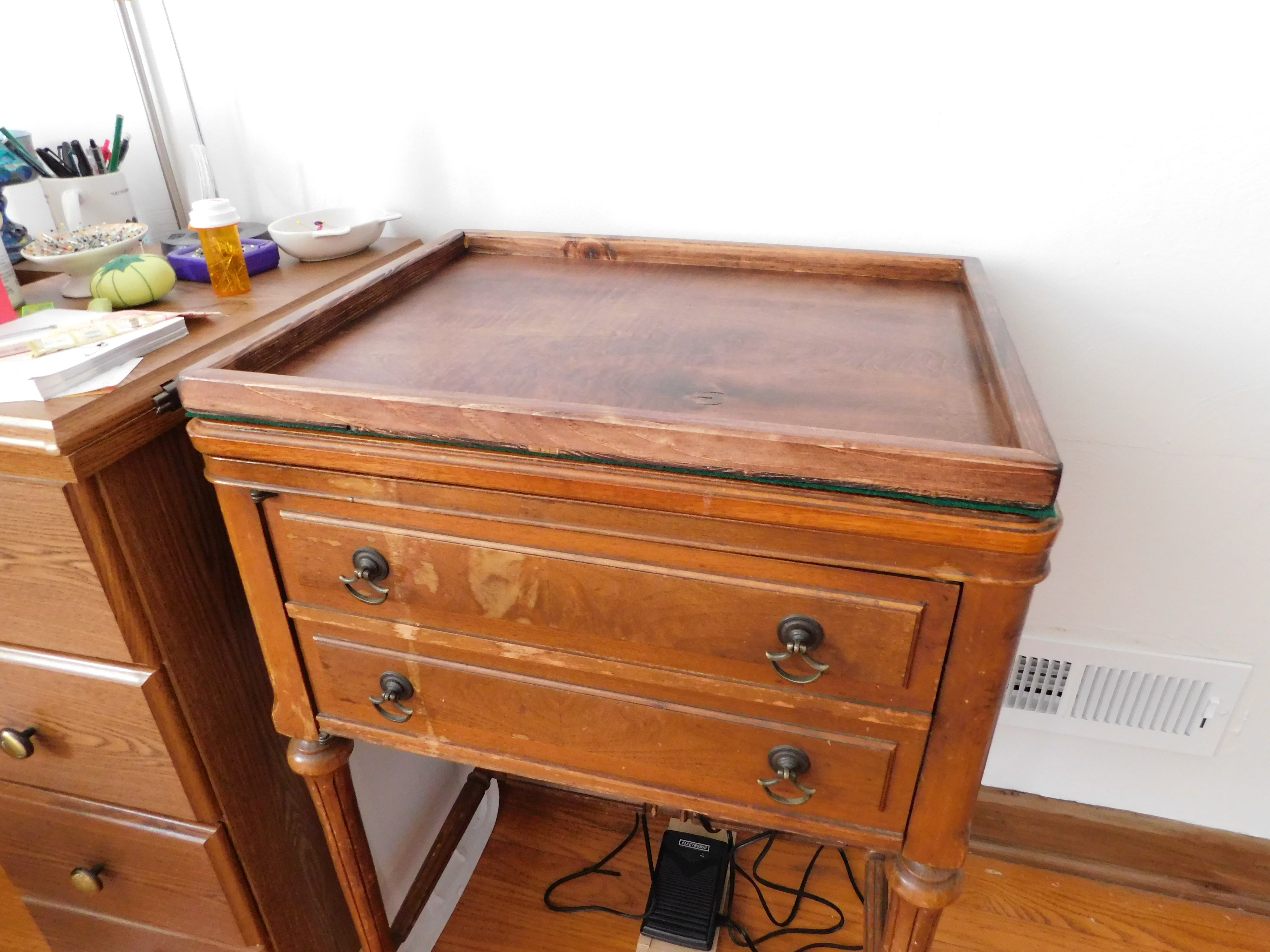 Sewing Tray on Cabinet